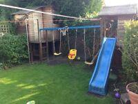 Wood climbing frame childrens playhouse