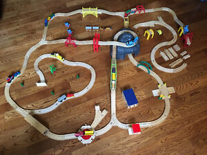 Wooden Train Track and Trains (some Thomas trains)