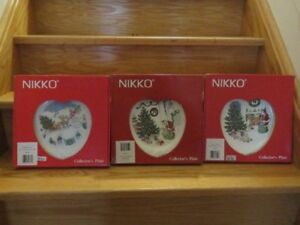 BRAND NEW - 3 NIKKO HAPPY HOLIDAYS CHRISTMAS COLLECTOR'S PLATES