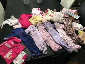 Lot pyjamas fille newborn, 3 mois et 6 mois