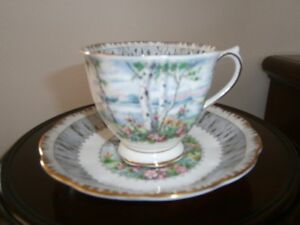 ATTRACTIVE ROYAL ALBERT SILVER BIRTH CUP AND SAUCER SET