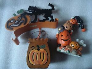 3 décoration  d halloween chat et citrouille,lampe et sceau
