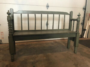 Antique spindle headboard benches