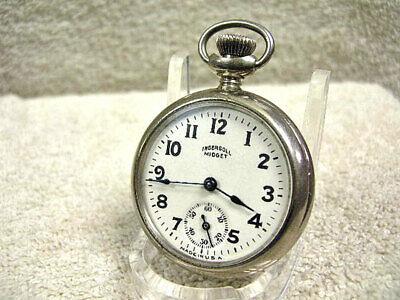 "Vintage Ingersoll ""Midget"" pocket watch 100% Original with case papers RUNNING!"