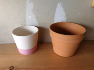 Porcelain Clay Planting Pots $5 each or $7 for both FIRM