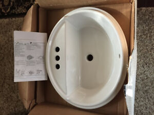 White Porcelain bathroom sink,  KOHLER