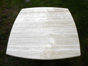TRAVERTINE SIDE TABLES with Pedestal Base Made in Italy