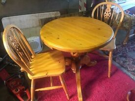 Solid Pine Small Round Table & 2 Chairs
