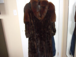 Full length mink paw fur Jacket with Hood