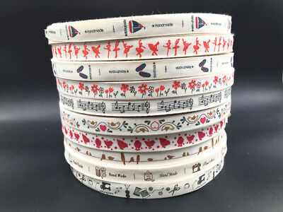 5-10yd Printed Cotton Ribbon 15mm Handmade Gift Present Package DIY Sewing - Present Ribbon