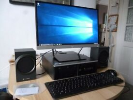 PC Desktop Complete Workstation with HP Pavilion 22cw Monitor