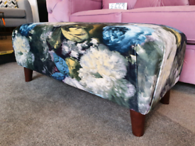 NEW Floral Teal Blue Velvet Footstool / Bench DELIVERY AVAILABLE
