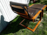 IKEA medium-brown Leather Chair with matching Footstool
