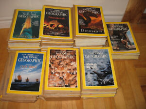 LOT of 115+ National Geographic Magazines 1989-99 & Slip Covers