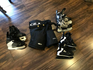 Youth Hockey skates and pants