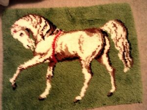 Vintage Rug-Hook { horse } carpet