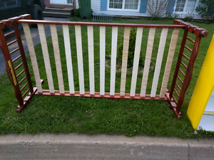 Free wood bed frame and wood bookcase