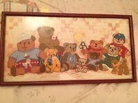 Framed Needlepoint Teddy Bears