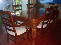 Dining Room Table & 6 Chairs Italian Handcrafted Mahogany Wood
