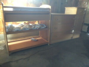 Nice baby solid oak crib and dresser and change table