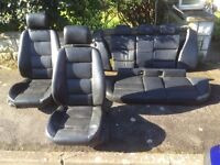 BMW e36 touring estate black leather interior front rear seats