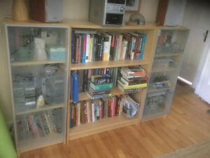 3 IKEA Bookcases with (2) glass doors
