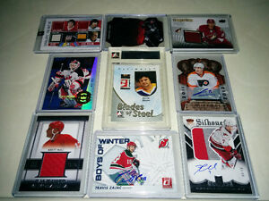 Lot collection 36 cartes hockey jerseys autographes recrues