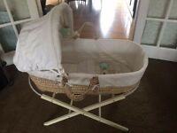 Moses Basket Cot with Mattres, Hood & Wooden Stand in Excellent Condition Baby Girl Boy