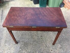 Antique Edwardian Wooden Folding Table With Drawer