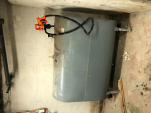 900litre oil tank with oil fired boiler and hot water tank