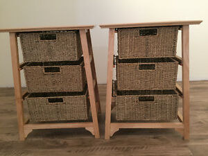 Wicker and wood night tables