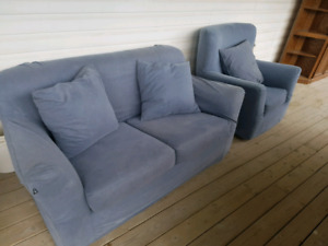 Blue couch and chair