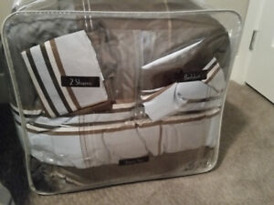 King size comforter set. Modern style light blue and brown