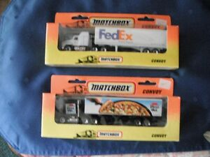 Matchbox - Two 1996 Convoys (FedEx and Pizza Hut)  - Like New