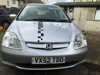 52 MODEL HONDA CIVIC 1.6 LONG MOT VERY CLEAN IN/OUT DRIVE SPOT ON/NISSAN/FORD/MITSUBISHI/MERCEDES/