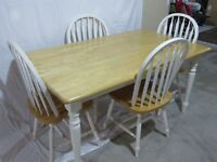 Kitchen table, chairs and stool