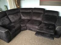 Stunning 3 month old sofa with 2 built in electric reclining chairs and storage stool