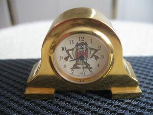 STUNNING 1996 WARNER BROS. MINIATURE BRASS MANTLE CLOCK