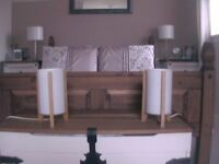 pair white bedside lamps