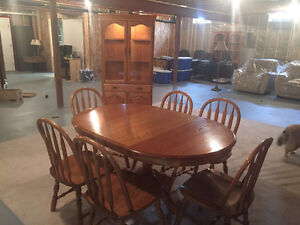 Dining table and corner hutch