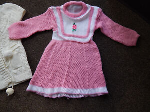 Knitted dress and jacket for girls .