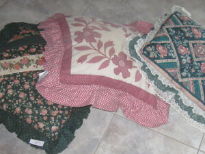 3 COLOURFUL THICK PUFFY FRILLY SOFA CUSHIONS...
