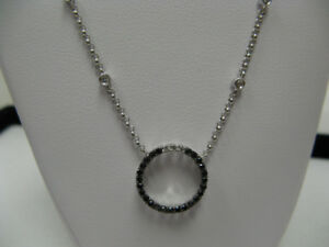 18K White Gold Dia. Necklace with 0.38ct TW Black Dia.Pendant