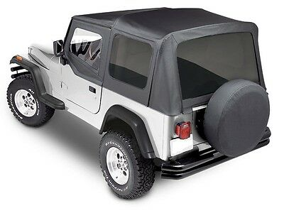 (Premium Replacement Soft Top kit for 1988-1995 Jeep Wrangler YJ in Black Denim)
