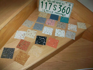 3 x 3 inch 1970s floor tile samples (not ceramique) 20$