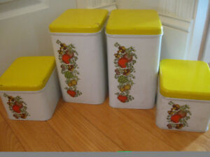 SET of FOUR MATCHING RUSTIC METAL KITCHEN CANNISTERS