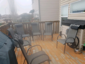 Patio table and six chairs.