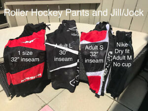 3 pairs of Roller Skate Pants & Jock/Jill (no cup - use old one)
