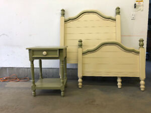 Beautiful children's twin bed frame and bedside table.