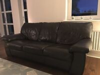 3 piece brown leather sofa from DFS